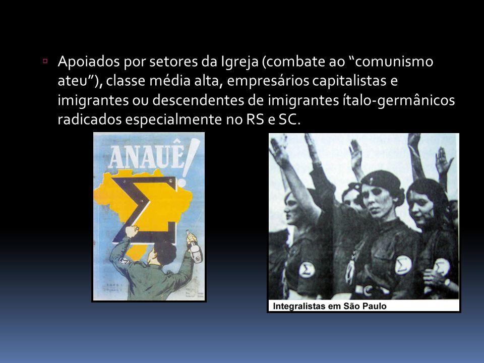 Apoiados por setores da Igreja (combate ao comunismo ateu ), classe média alta, empresários capitalistas e imigrantes ou descendentes de imigrantes ítalo-germânicos radicados especialmente no RS e SC.