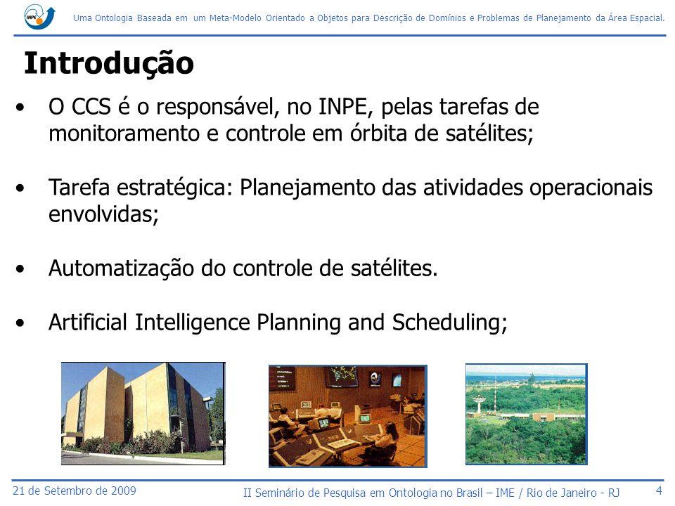 Introdução O CCS é o responsável, no INPE, pelas tarefas de monitoramento e controle em órbita de satélites;