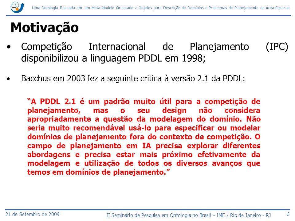 Motivação Competição Internacional de Planejamento (IPC) disponibilizou a linguagem PDDL em 1998;