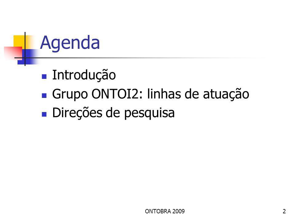 Agenda Introdução Grupo ONTOI2: linhas de atuação Direções de pesquisa