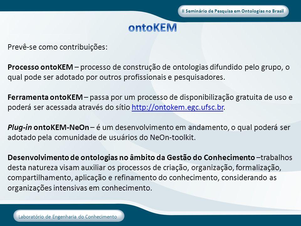 ontoKEM Prevê-se como contribuições: