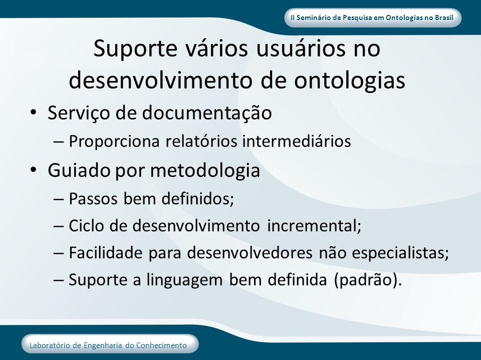Suporte vários usuários no desenvolvimento de ontologias