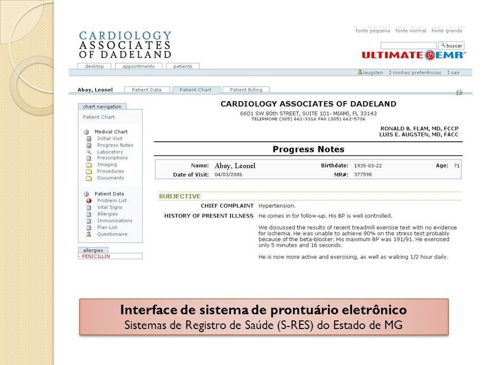 Interface de sistema de prontuário eletrônico