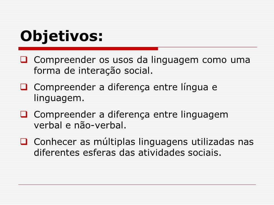 Objetivos:Compreender os usos da linguagem como uma forma de interação social. Compreender a diferença entre língua e linguagem.