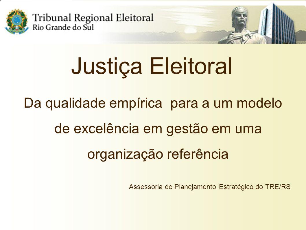 Justiça Eleitoral Da qualidade empírica para a um modelo de excelência em gestão em uma organização referência.