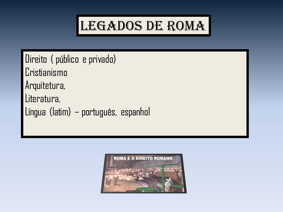 Legados de Roma Direito ( público e privado) Cristianismo Arquitetura,