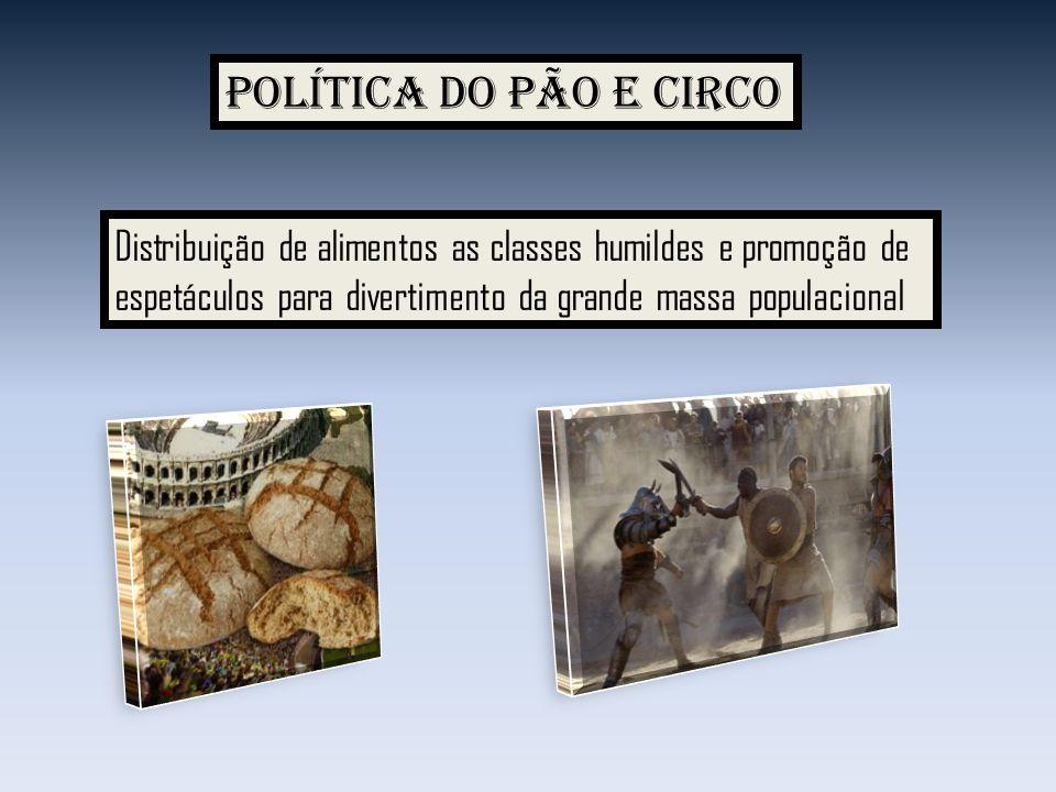 Política do pão e circo Distribuição de alimentos as classes humildes e promoção de.