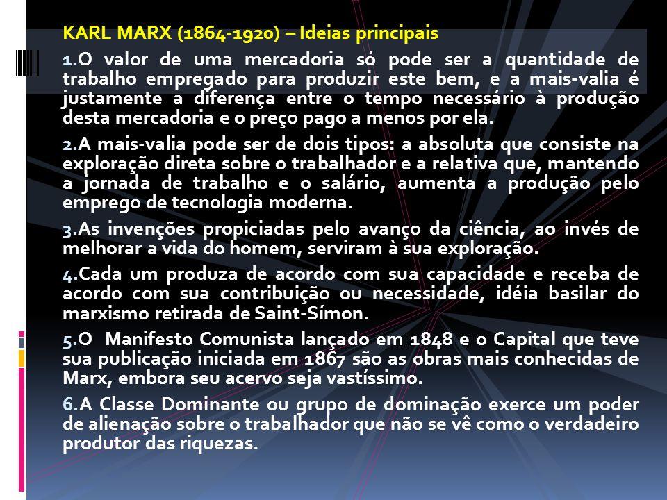KARL MARX (1864-1920) – Ideias principais