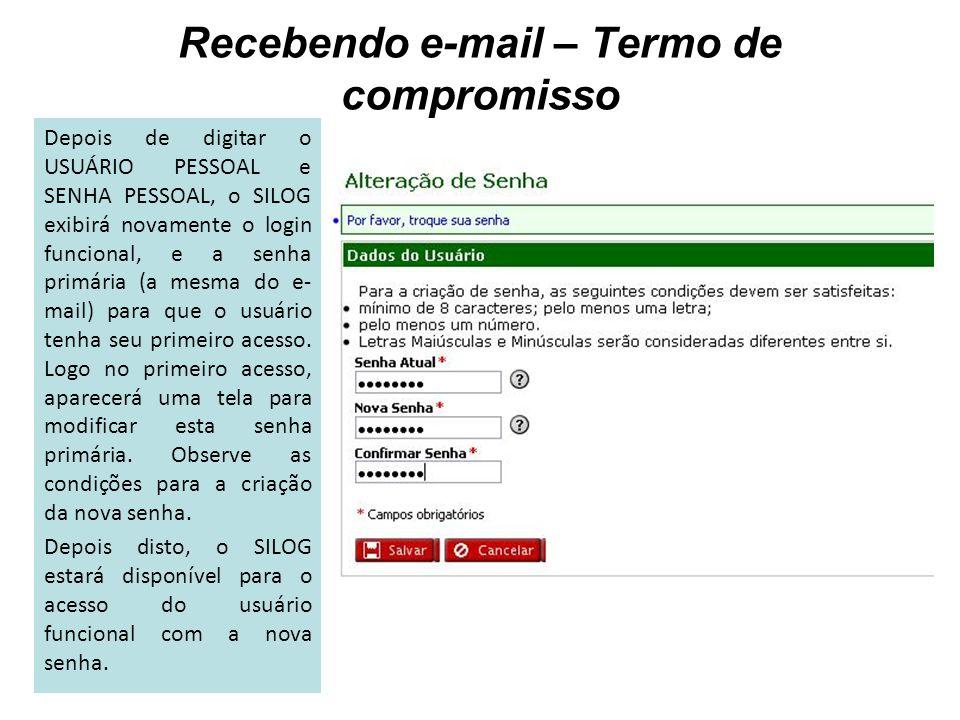 Recebendo e-mail – Termo de compromisso