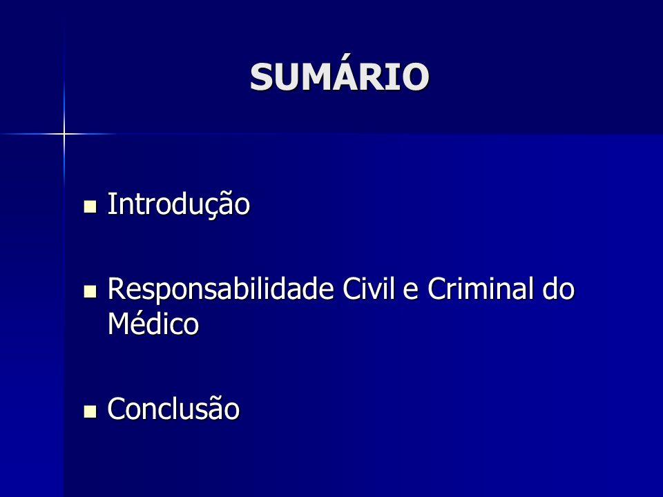 SUMÁRIO Introdução Responsabilidade Civil e Criminal do Médico