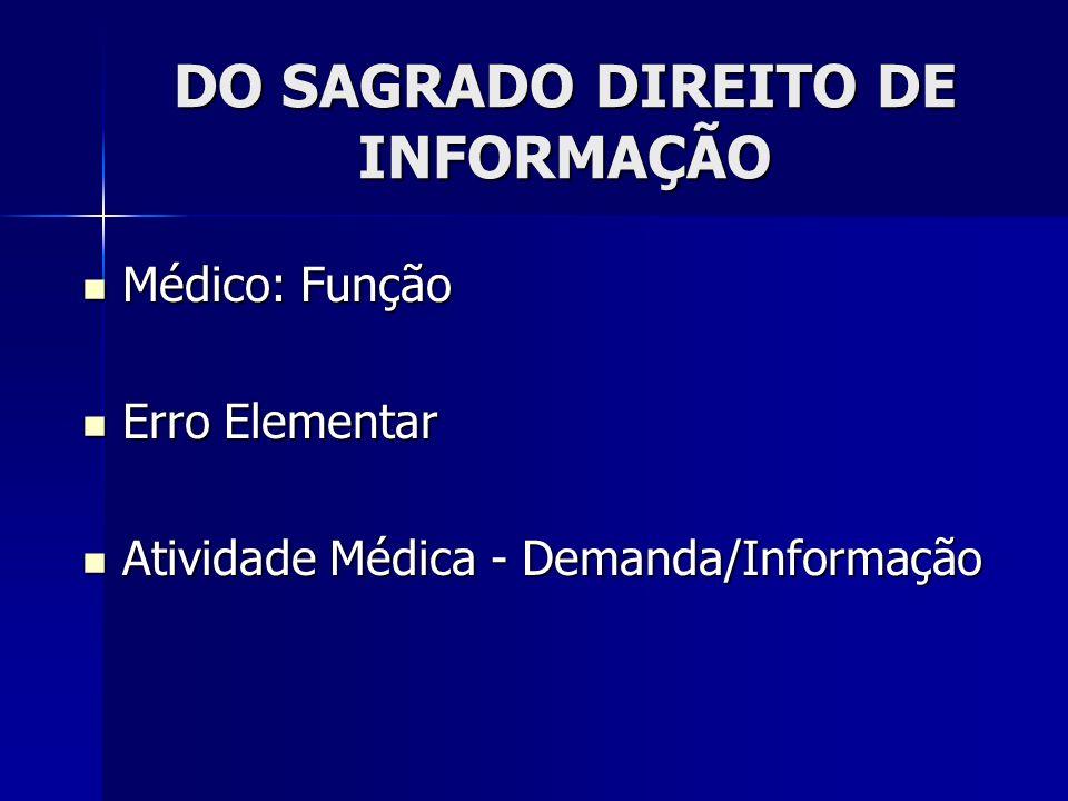 DO SAGRADO DIREITO DE INFORMAÇÃO