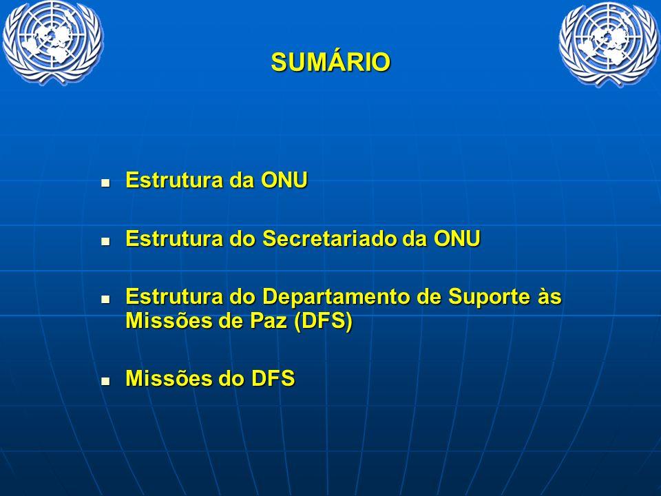 SUMÁRIO Estrutura da ONU Estrutura do Secretariado da ONU