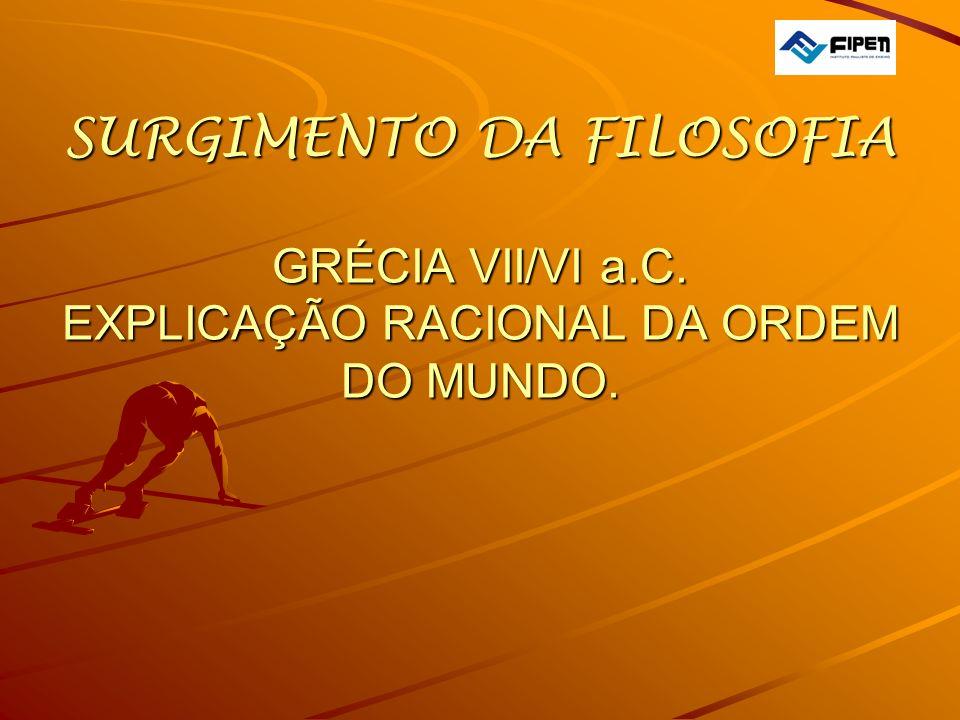  SURGIMENTO DA FILOSOFIA GRÉCIA VII/VI a. C