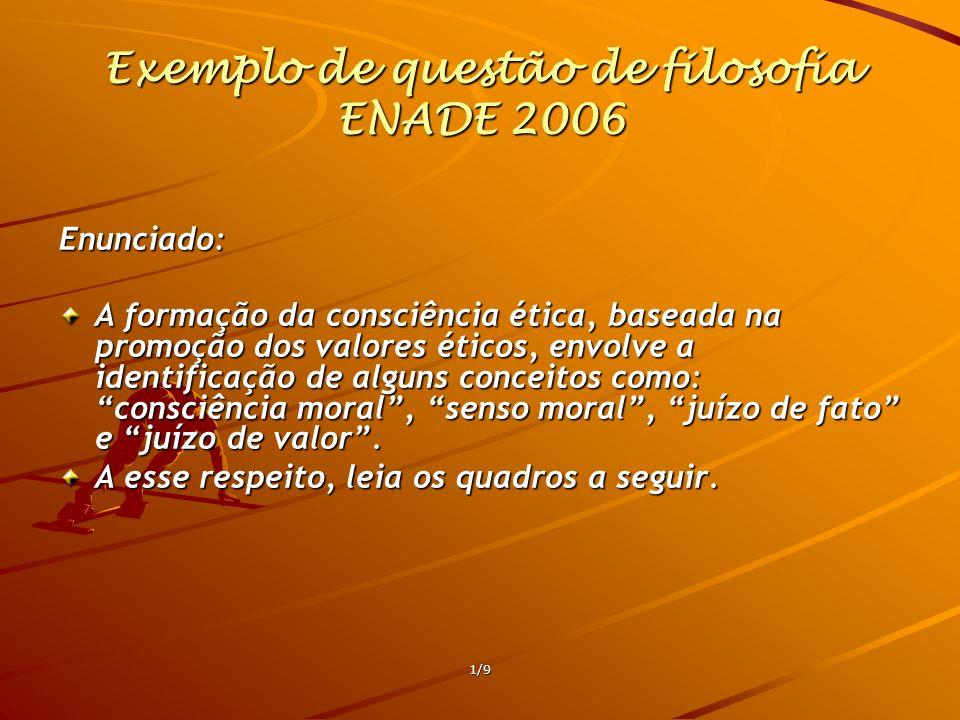 Exemplo de questão de filosofia ENADE 2006