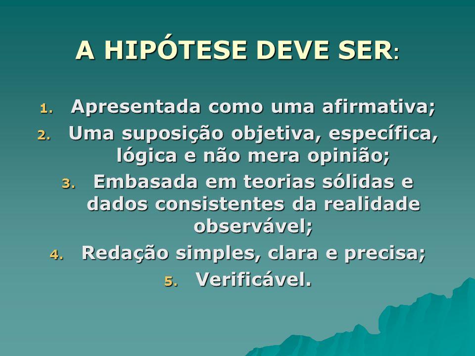 A HIPÓTESE DEVE SER: Apresentada como uma afirmativa;