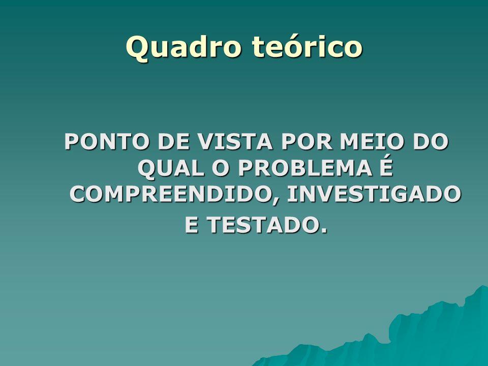 PONTO DE VISTA POR MEIO DO QUAL O PROBLEMA É COMPREENDIDO, INVESTIGADO