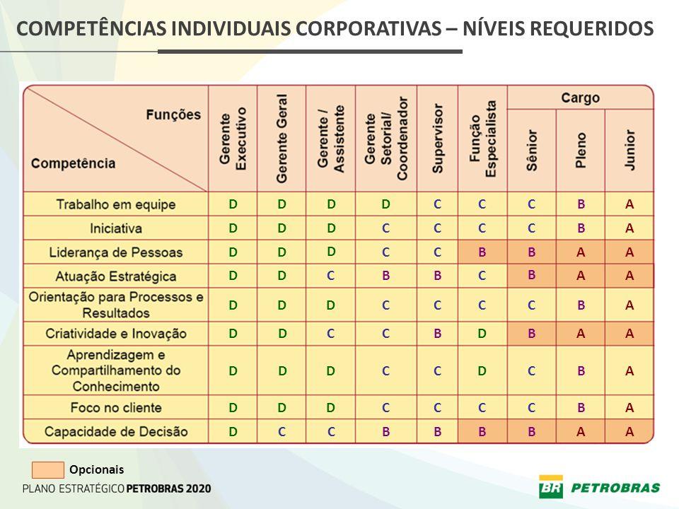 COMPETÊNCIAS INDIVIDUAIS CORPORATIVAS – NÍVEIS REQUERIDOS