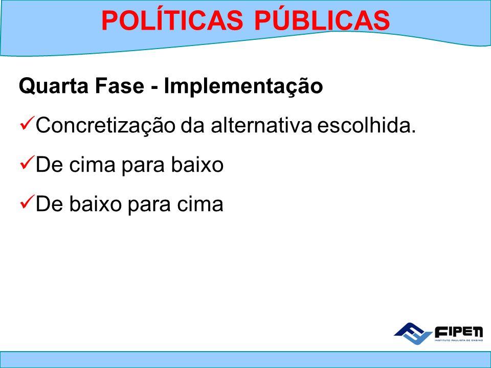 POLÍTICAS PÚBLICAS Quarta Fase - Implementação