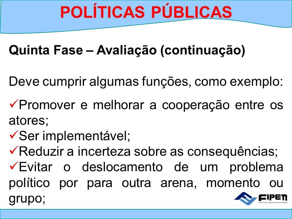 POLÍTICAS PÚBLICAS Quinta Fase – Avaliação (continuação)