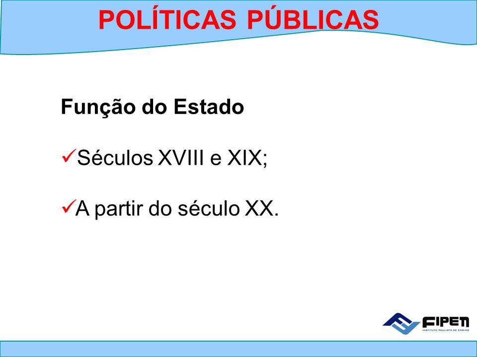 POLÍTICAS PÚBLICAS Função do Estado Séculos XVIII e XIX;