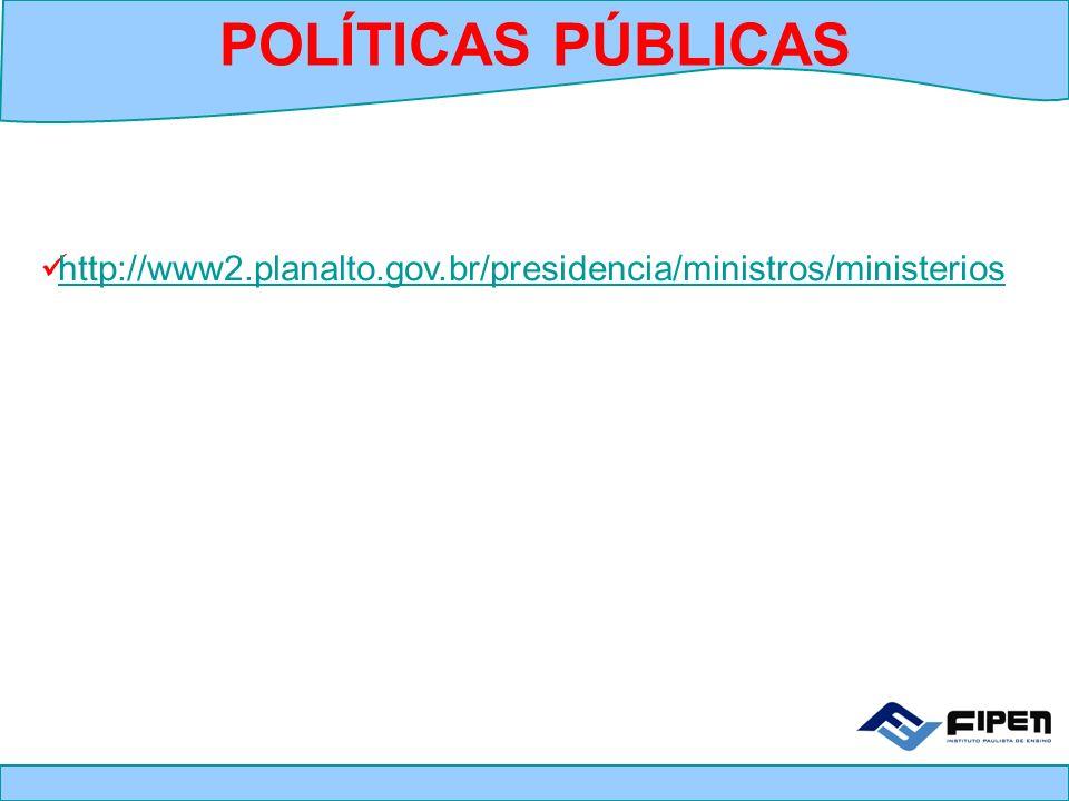 POLÍTICAS PÚBLICAS http://www2.planalto.gov.br/presidencia/ministros/ministerios