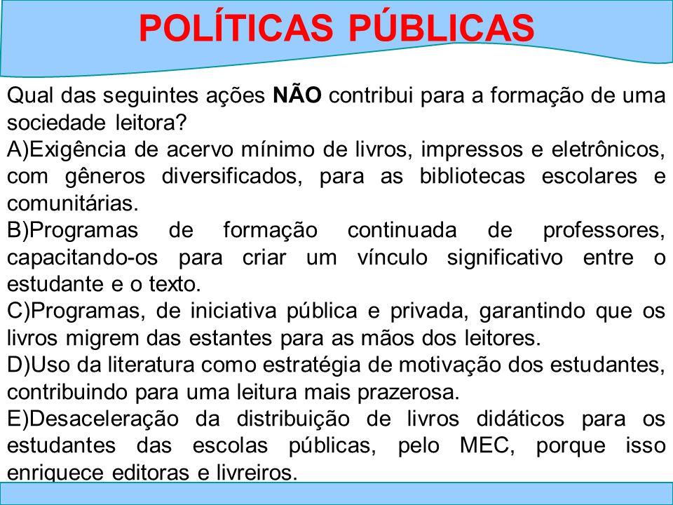 POLÍTICAS PÚBLICAS Qual das seguintes ações NÃO contribui para a formação de uma sociedade leitora