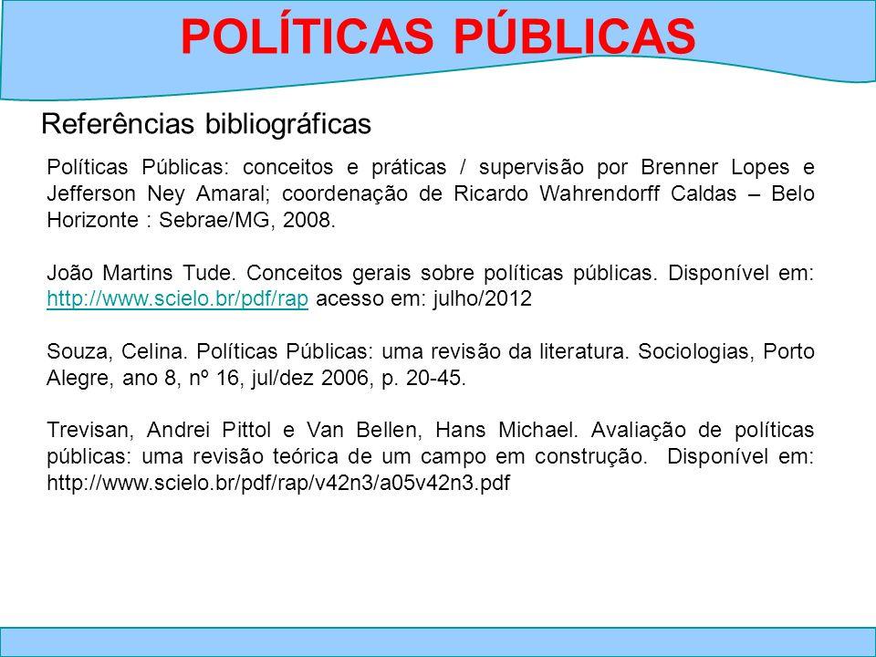 POLÍTICAS PÚBLICAS Referências bibliográficas