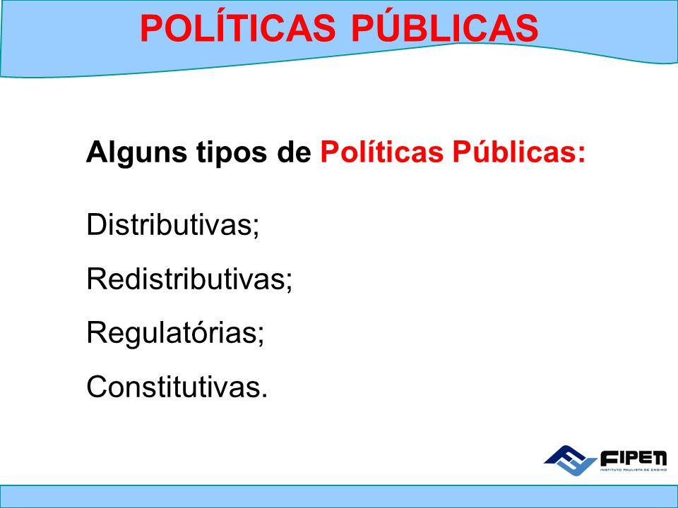 POLÍTICAS PÚBLICAS Alguns tipos de Políticas Públicas: Distributivas;