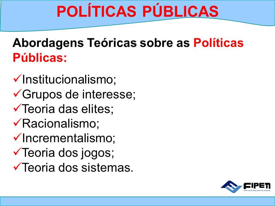 POLÍTICAS PÚBLICAS Abordagens Teóricas sobre as Políticas Públicas: