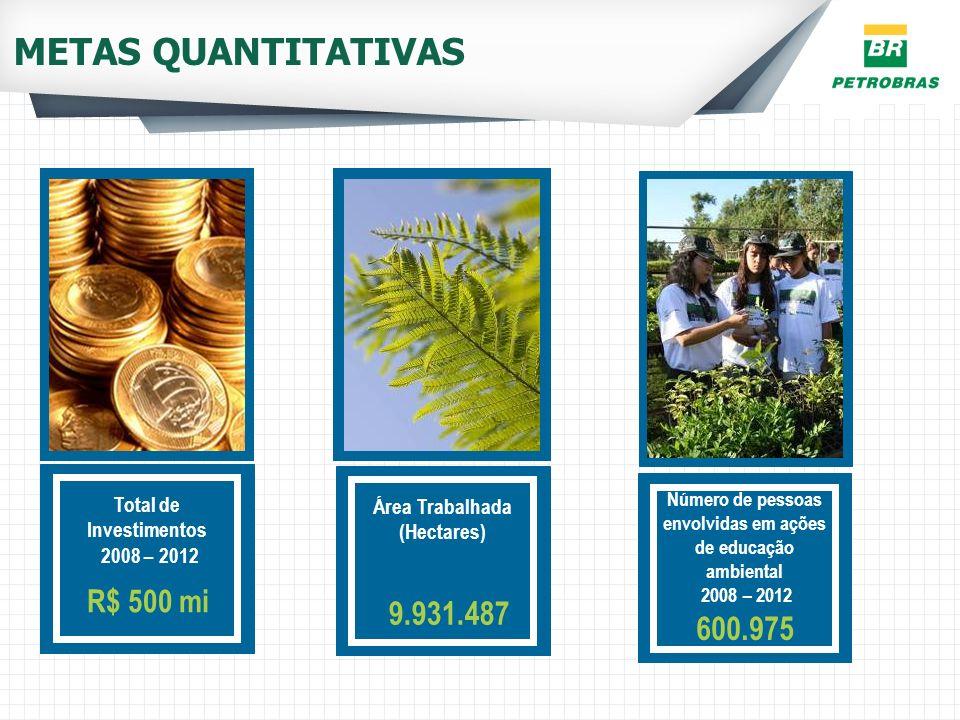 METAS QUANTITATIVAS 9.931.487 600.975 R$ 500 mi Total de Investimentos