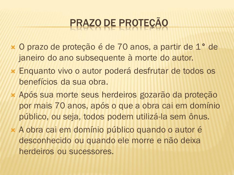Prazo de proteção O prazo de proteção é de 70 anos, a partir de 1° de janeiro do ano subsequente à morte do autor.