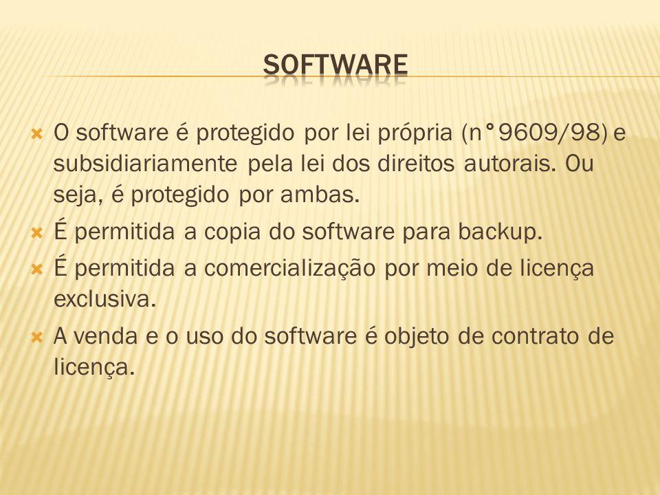 software O software é protegido por lei própria (n°9609/98) e subsidiariamente pela lei dos direitos autorais. Ou seja, é protegido por ambas.