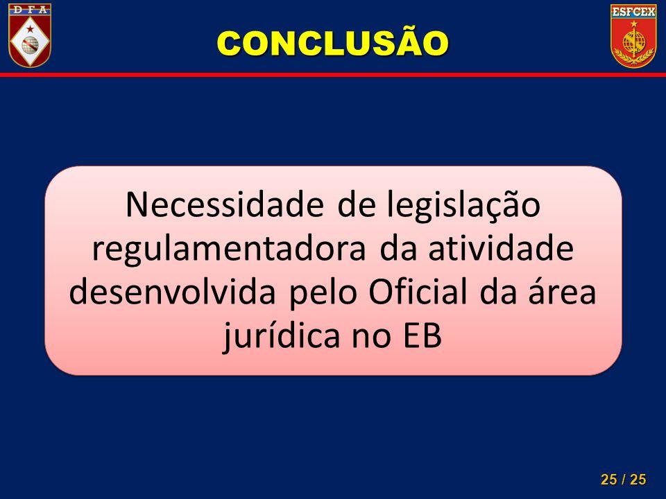 CONCLUSÃO Necessidade de legislação regulamentadora da atividade desenvolvida pelo Oficial da área jurídica no EB.