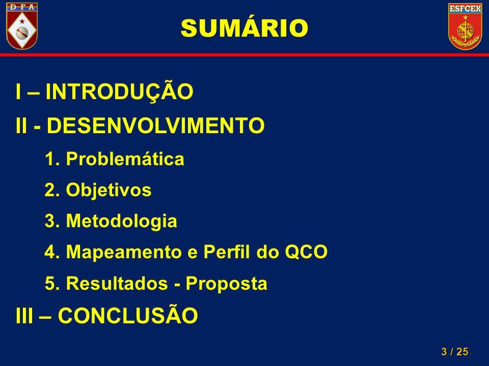 SUMÁRIO I – INTRODUÇÃO II - DESENVOLVIMENTO III – CONCLUSÃO