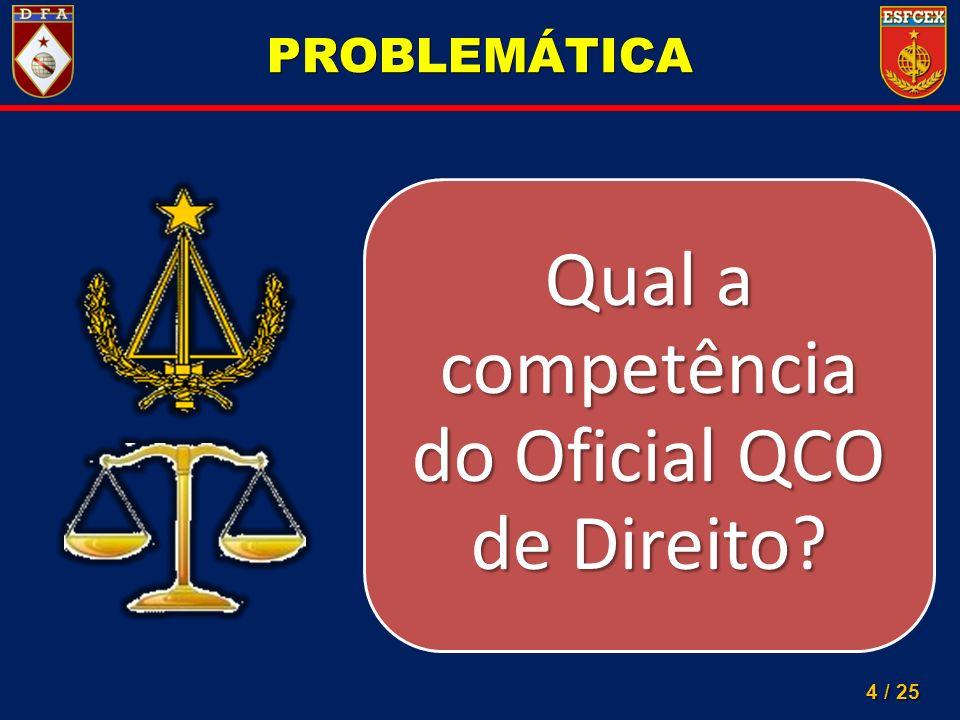 Qual a competência do Oficial QCO de Direito