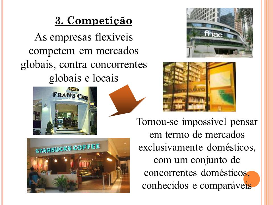 3. CompetiçãoAs empresas flexíveis competem em mercados globais, contra concorrentes globais e locais.