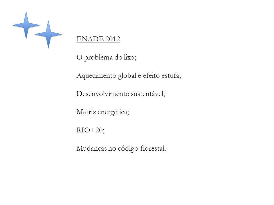 ENADE 2012 O problema do lixo; Aquecimento global e efeito estufa; Desenvolvimento sustentável; Matriz energética;