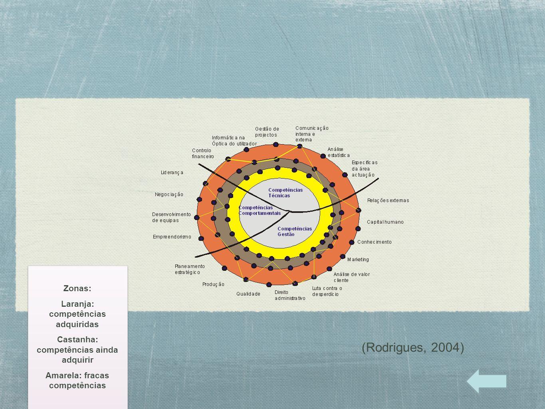 (Rodrigues, 2004) Zonas: Laranja: competências adquiridas