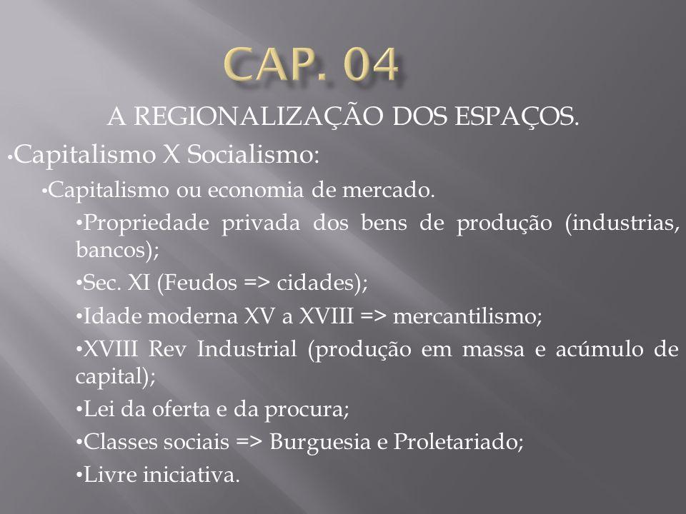 A REGIONALIZAÇÃO DOS ESPAÇOS.