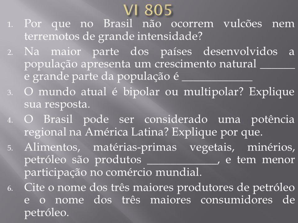 VI 805 Por que no Brasil não ocorrem vulcões nem terremotos de grande intensidade