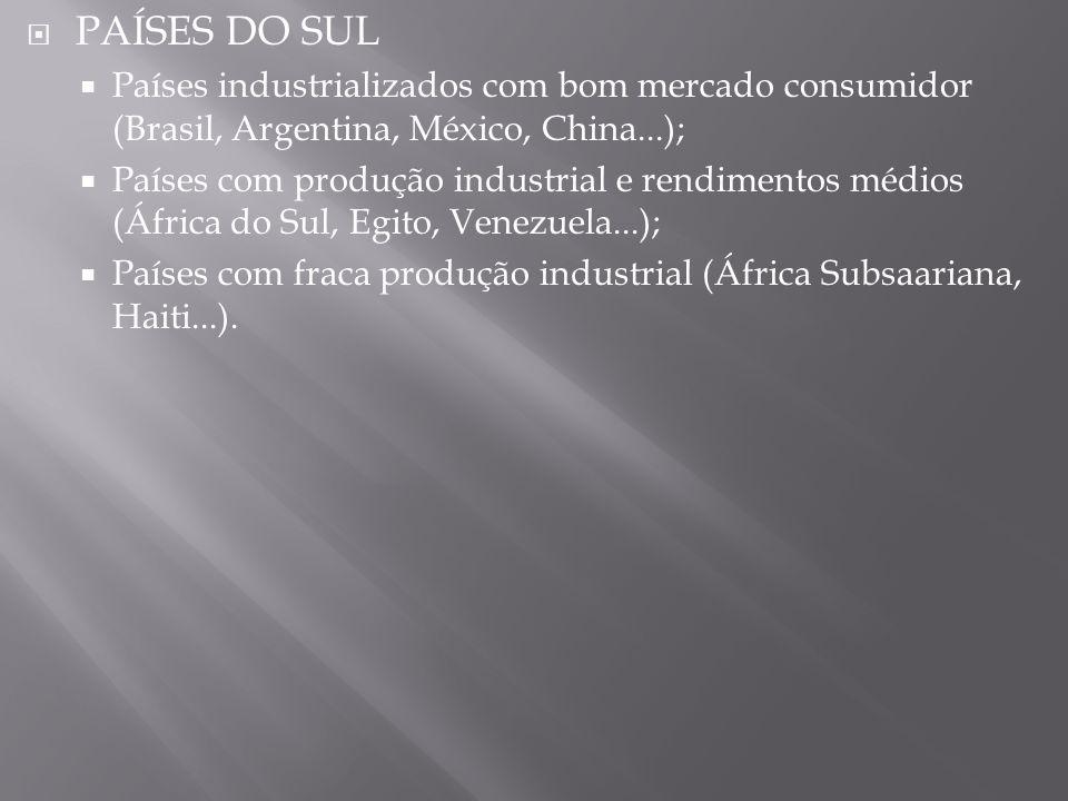 PAÍSES DO SUL Países industrializados com bom mercado consumidor (Brasil, Argentina, México, China...);