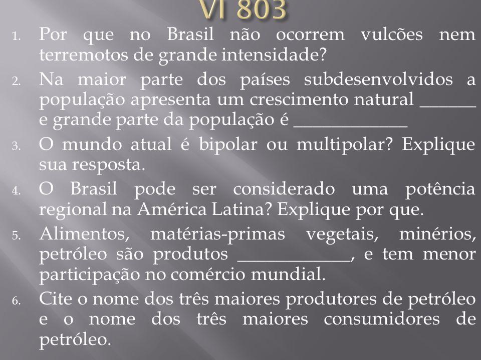 VI 803 Por que no Brasil não ocorrem vulcões nem terremotos de grande intensidade