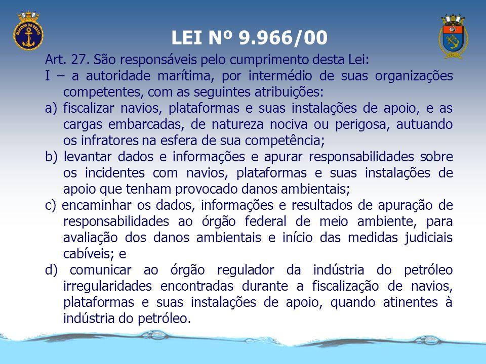 LEI Nº 9.966/00 Art. 27. São responsáveis pelo cumprimento desta Lei: