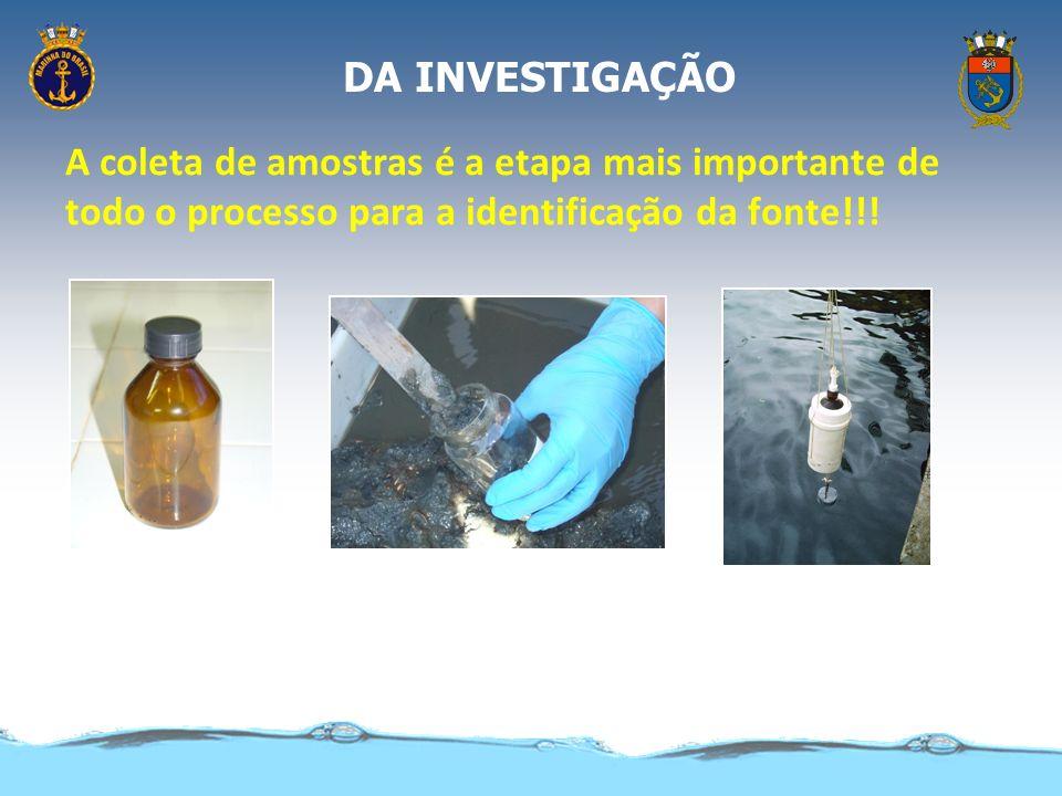 DA INVESTIGAÇÃO A coleta de amostras é a etapa mais importante de todo o processo para a identificação da fonte!!!