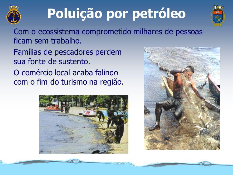 Poluição por petróleoCom o ecossistema comprometido milhares de pessoas ficam sem trabalho. Famílias de pescadores perdem sua fonte de sustento.
