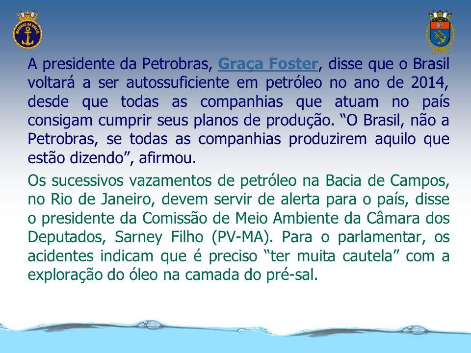 A presidente da Petrobras, Graça Foster, disse que o Brasil voltará a ser autossuficiente em petróleo no ano de 2014, desde que todas as companhias que atuam no país consigam cumprir seus planos de produção. O Brasil, não a Petrobras, se todas as companhias produzirem aquilo que estão dizendo , afirmou.