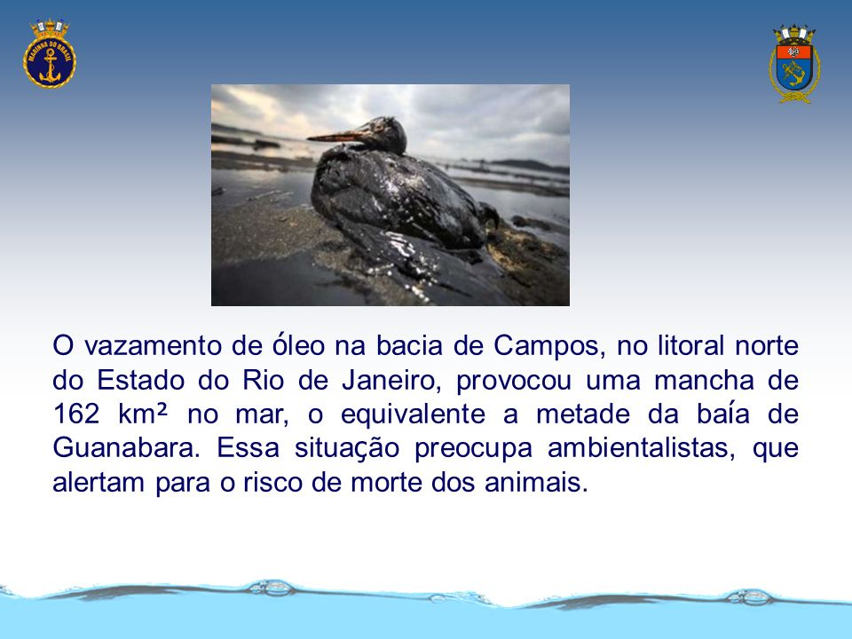 O vazamento de óleo na bacia de Campos, no litoral norte do Estado do Rio de Janeiro, provocou uma mancha de 162 km² no mar, o equivalente a metade da baía de Guanabara.