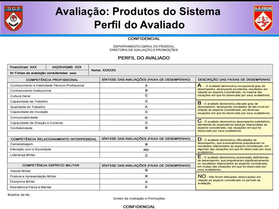 Avaliação: Produtos do Sistema Perfil do Avaliado