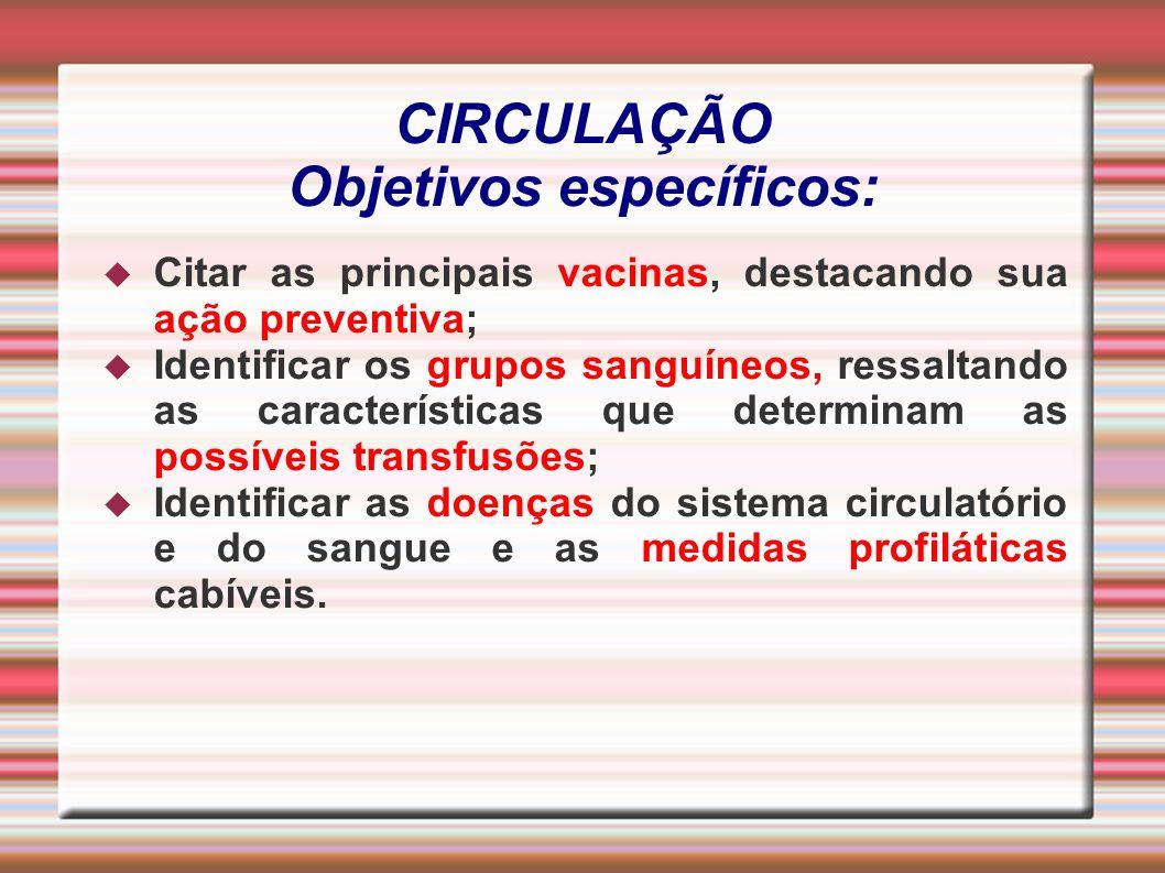 CIRCULAÇÃO Objetivos específicos: