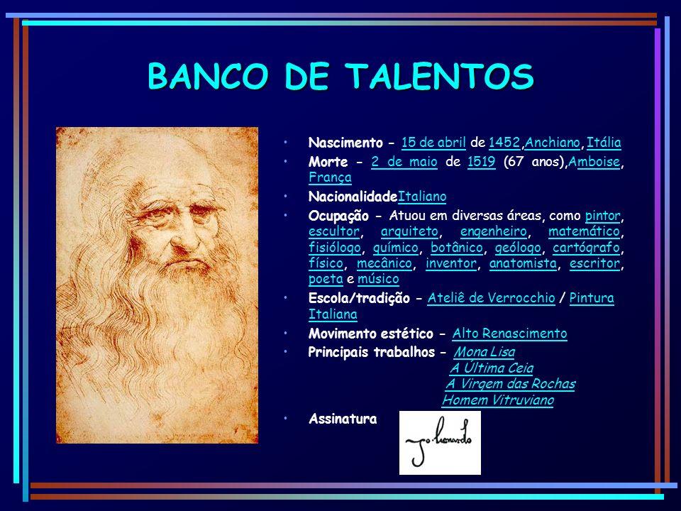 BANCO DE TALENTOS Nascimento - 15 de abril de 1452,Anchiano, Itália